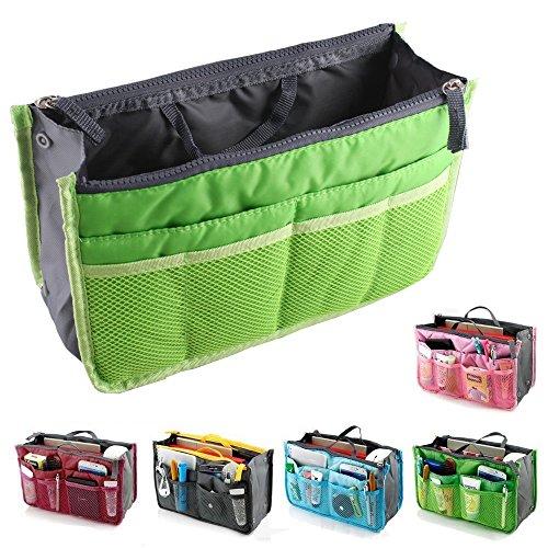 fenrad Doppel-Reißverschluss Multifunktions Handtaschenordner Handtasche Organizer Reisetasche Trading Tasche (Grün) -