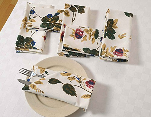 (floral Baumwolle Abendessen Stoffservietten Weihnachten - 50 x 50 cm - Satz von 6 Premium Tischwäschen für das Esszimmer - Weiß, Rot und Blau Rose)