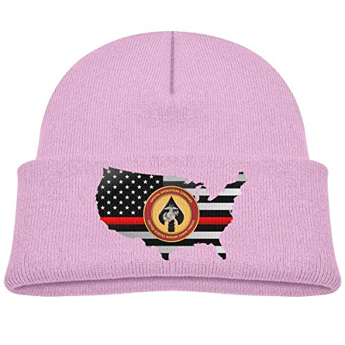 ADGoods Kids Children United States Marine Corps Forces Special Operations Thin Red Line Flag Beanie Hat Knitted Beanie Knit Beanie for Boys Girls Kinderbaseballmütze -