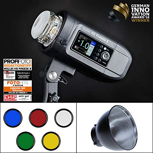 Rollei HS Freeze 4 - Professioneller Studio-Blitz mit starkem Foto Akku - Perfekt für Studio und Outdoor Fotografie mit LED Einstell-Licht...