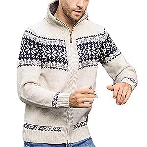 SUCES Herren Jacke, Herbst Winter Schmale Freizeit Mäntel Langarmshirt Winterjacke Mode Lässig Sweatshirt Strick Druck Stehkragen Strickjacke