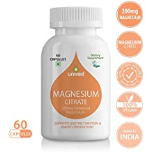 Unived Magnesium Citrate 200mg, Supports Enzyme Function & Energy Production, 30 Servings, 60 Vegan Capsules