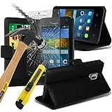 Fone-Case High Quality Black Huawei Y3/ Huawei Ascend Y3 Hülle Abdeckung Cover Case schutzhülle Tasche Executive-Mappen-Buch-Art-Abdeckung gebildet vom PU-Leder mit 3 Kreditkarte-Halter-Steckplätze, 1 x-ausgeglichenes Glas und 1 Colour Coded Aluminium Einstellbare Pen