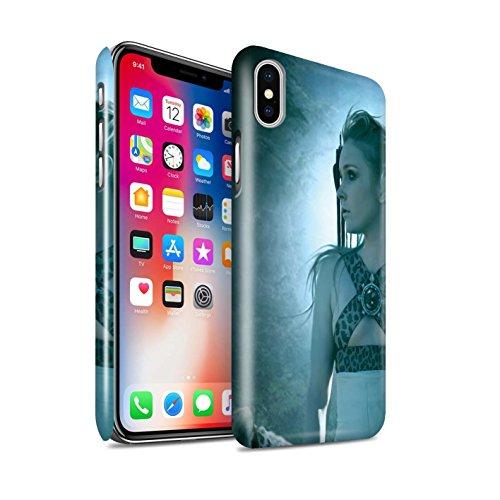 Officiel Elena Dudina Coque / Clipser Brillant Etui pour Apple iPhone X/10 / Jacinthe Design / Les Animaux Collection Félins/Léopard/Guerrier
