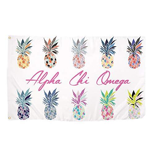 Desert Cactus Alpha Chi Omega Pop Art Ananas Sorority Flagge griechischen Buchstaben Verwenden als großes Banner 3x 5Fuß Axo (Griechische Buchstaben, Kleidung)