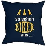 Cooles Biker Kissen - Geschenk Motorradfahrer : Biker / So sehen Biker aus -- Goodman Design -- Kissen mit Füllung Farbe: navy-blau