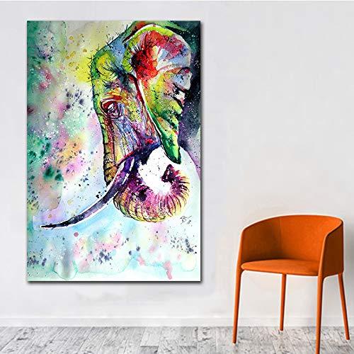 Art Master Creation Wildlife Aquarell Elefant Leinwand Malerei Wohnzimmer Wandkunst Wandbild Bild Poster Drucken Home Decoration (Kein Rahmen) A1 30x40 CM -