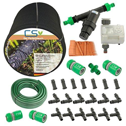 50m CS Perlschlauch Startup Z15,Bewässerungscomputer,Wasserfilter,Druckminderer,20m Gartenschlauch mit - Hochbeet-anschlüsse