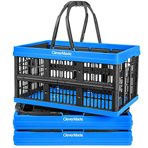 le Plastic Grocery Shopping Baskets: Small Folding Stackable Storage Containers/Bins with Handles, Pack of 3, Neptune Blue ()