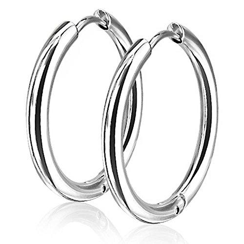 viva-adorno® 1 Paar Klappcreolen Ohrringe Edelstahl in verschiedenen Größen und Farben ER96, Silber 20mm
