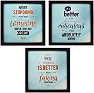 INDIANARA 3 Piece Set of Framed Wall Hanging Motivational Office Decor Art Prints 8.7 INCH X 8.7 INCH Without