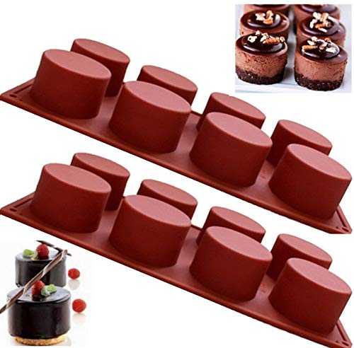 Round Silicone Soap Mold Candy Mold, 2 Pack Chocolate Bakeware Pan Cake Moulds Non-Stick Ice Cube Tray Kitchen Baking Mould
