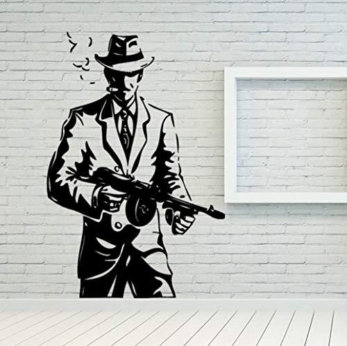 Klassische Wand Zimmer Dekor Kunst Vinyl Aufkleber Wandbild Aufkleber Gangster Mob Tommy Gun 38 * 57 cm