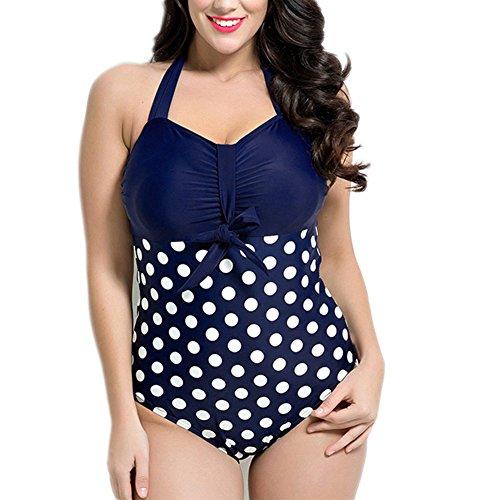 Missyhot Damen Retro Bademode Polka Dots Einteilig Vintage Schwimmenanzug mit Punkten Monokini Bikini Neckholder Badeanzug -