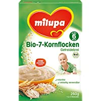 Milupa Bio-7-Kornflocken Getreidebrei ab dem 6. Monat, 5er Pack (5 x 250 g Packung) - Bio