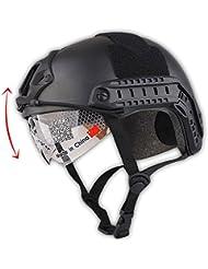 Casco de estilo SWAT, tipo MH rápido (L/XL), para deportes, con protección para ojos, color negro
