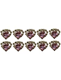Jewellery of Lords 10 Pink Heart Shaped Large Coloured Crystal Hair Pin with Clear Mounted Crystals Hairpin