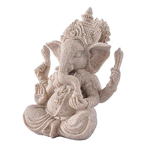 Sharplace Sandstein Buddha Figur Statue Elefanten-Statue,Dekor Steinfigur #1