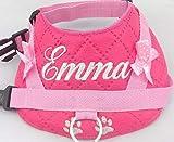 Hundegeschirr S M L XL XXL Brustgeschirr mit Wunsch Namen bestickt Kunstleder pink LED