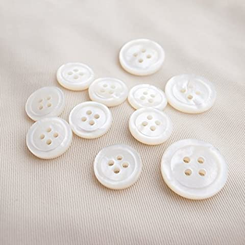Takashima White Mother of Pearl Buttons,#00017JK Four-Hole,15mm(5/8'')8Pieces&20mm(13/16'')3Pieces Suit Buttons Set by Takashima