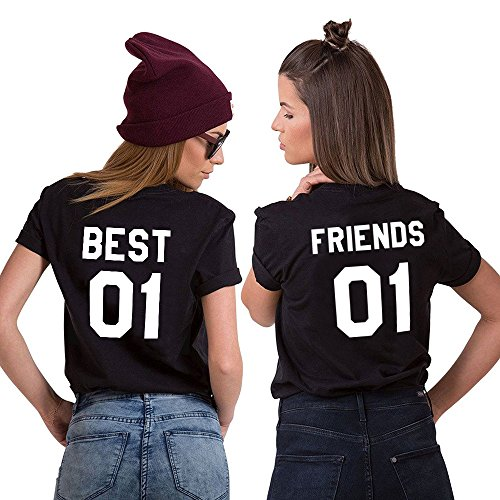 Mejores Amigas Shirt Best Friends Camiseta 2 Piezas Shirt 100% Algodón Verano con Manga Corta BFF Para Mujer Moda(Negro+Negro,Best-XL+Friends-M)