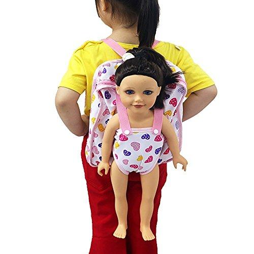 ackpack Carrier Entzückendes Zubehör für 15 bis 18 Zoll Puppen Rucksack Schultasche für American Girl Doll Puppenzubehör Puppen Backpack Schlusstasche (Rose) ()