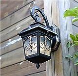 Applique in alluminio finitura ruggine con padiglione decorativo per giardino in vetro smerigliato