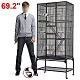 Popamazing 30.4 x 18.2 x 69.2 inch Cockatoo Cage Pet Supply Parrot FIron inch Bird Perch Stand (Black)