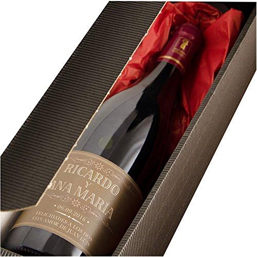 Regalo para parejas personalizable: botella de vino personalizada con nombres, fecha y dedicatoria