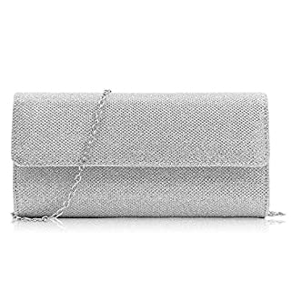Milisente Women Clutch Bag Elegant Sequins Evening Clutch Purse Chain Shoulder Bags (Silver)