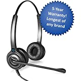 Leitner LH245 Corded Office Telephone Headset Dual-Ear Includes A 5-Year Warranty - Universal Adapter Works With Any Manufacturer's Headset Cords And Accessories Including