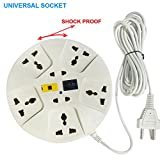 #8: Elove Extension Board , Elove 6 Amp Multi Plug Point Extension Cord (3 Meter) With Led Indicator And Universal Socket - White