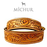 Michur Felipe beige leather dog collar for dogs available in different sizes
