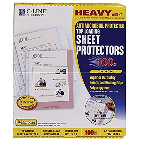 C-Line Clear Top-Loading Heavyweight Antimicrobial Poly Sheet Protectors, 8.5 x 11 Inches, 100 per Box (62033) by C-Line