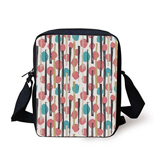 Designer Inspired Bag Purse Handtasche (CBBBB Geometric,Hand Drawn Pale Circles and Stripes Grunge Pattern Vintage Inspired Illustration Decorative,Multicolor Print Kids Crossbody Messenger Bag Purse)
