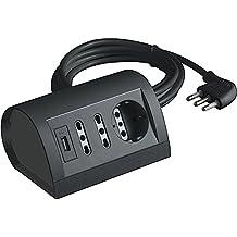 BTicino S3711GU Multipresa da Scrivania con Presa USB, 1.5A, Grigio