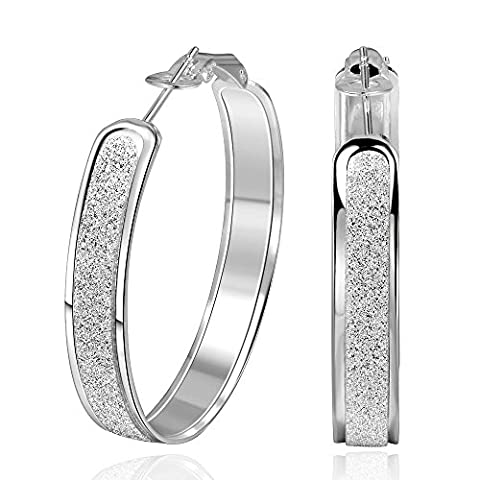 BODYA Silver plated Large round Sparkle Glitter linear Huggie Hoop Earrings 39mm cool fashion