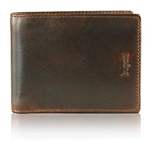 BUGATTI Romano Echtleder Geldbörse im Querformat, Portemonnaie aus echtem Leder für Herren, hochwertige Brieftasche, braun