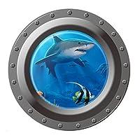 Wall Sticker - TOOGOO(R) Shark Ocean View Wall Sticker 3D Porthole Window Kids Room Home Decor Art