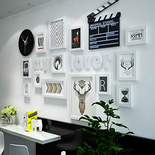 ZPQ0915 Bilderrahmen Moderne Mode Foto Wand Kreative Wohnzimmer Uhr Multi Bild Bilderrahmen Kombination (Color : B)