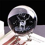 qianyue 3D Cristal Wapiti Ball Figurine Feng Shui Bureau Décoratif Tempête en Verre Balles De Boules Ornements Animal Wapiti Statue Artisanat (60mm)