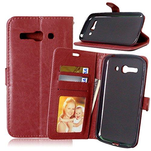 One Touch Pop C9 Flip Hülle, [Kostenlos Syncwire Ladekabel] FUBAODA PU Flip Ledertasche Schutzhülle Case Tasche mit Ständerfunktion und Karte Halter für One Touch Pop C9 (7047 7047D) (braun)