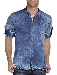 BLZ jeans - Chemise jean bleu délavé slim tendance