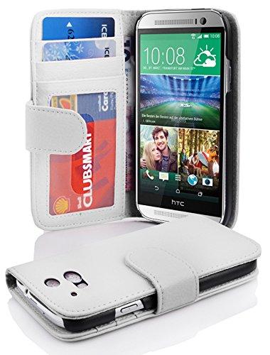Cadorabo Hülle für HTC One M8 (2. Gen.) Hülle in Handyhülle mit 3 Kartenfächern Case Cover Schutzhülle Etui Tasche Book Klapp Style Magnesium Weiß