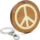 LIKY Paz símbolo llavero original de madera grabado regalo para mujer hombre cumpleaños...