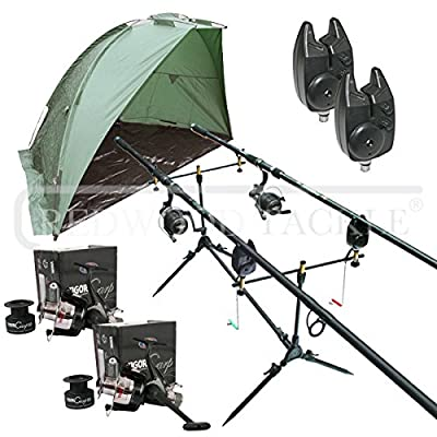 Carp Fishing Set & Bivvy/Shelter, Rods, Reels, Pod, Alarms from Redwoodtackle
