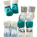 XuxMim 4 PairsToddlers Kinder Mädchen niedliche Muster Socken Baumwolle Bodensocken