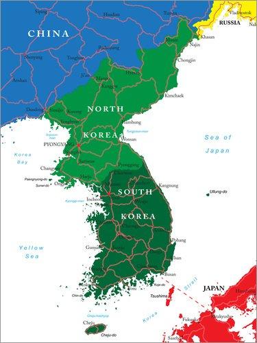 Posterlounge Forex-Platte 90 x 120 cm: Nord und Südkorea von Editors Choice