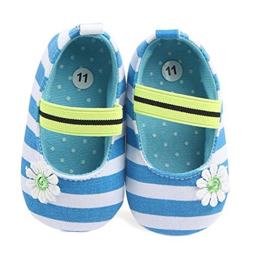 Igemy 1Paar Säugling Streifen Blume Schuhe Soft Sole Kinder Mädchen Baby Anti-Rutsch Baby Schuhe Blau