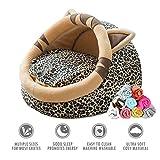 ubest Katzenbett mit Decke, Comfort Kuschelhöhle Hundesofa, Kleintiere Hundebett, Größe M, 44 x 41 x 30cm, Typ 2(Leopard)